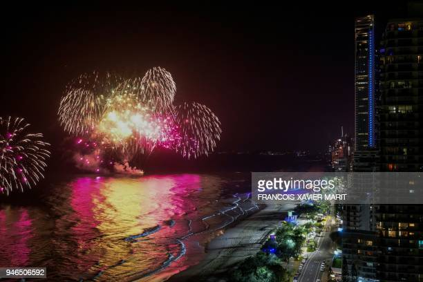 Fireworks erupt on the surfers' paradise beach as the Commonwealth Games closing ceremony takes place at the Carrara Stadium Coast 2018 on the Gold...