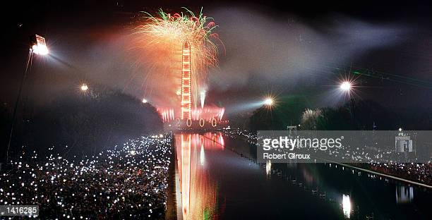 Fireworks erupt on the Washington Mall during the first minutes of January 1, 2000 in Washington, D.C., signaling the begining of the new millenium....