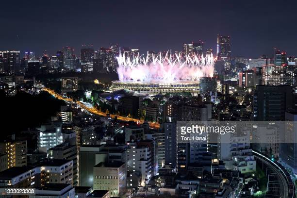Fireworks erupt over the stadium during the Closing Ceremony of the Tokyo 2020 Olympic Games at Olympic Stadium on August 08, 2021 in Tokyo, Japan.