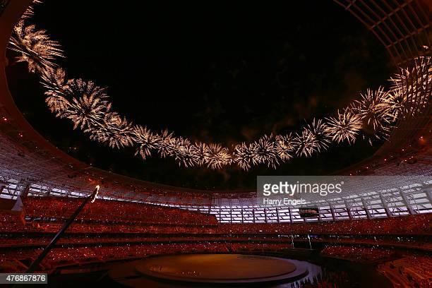 Fireworks erupt over the stadium during the Opening Ceremony for the Baku 2015 European Games at the Olympic Stadium on June 12 2015 in Baku...