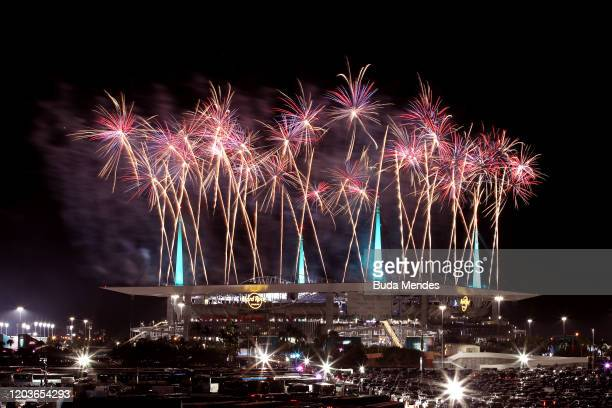 Fireworks erupt overHard Rock Stadium during the Pepsi Super Bowl LIV Halftime Show on February 02 2020 in Miami Florida