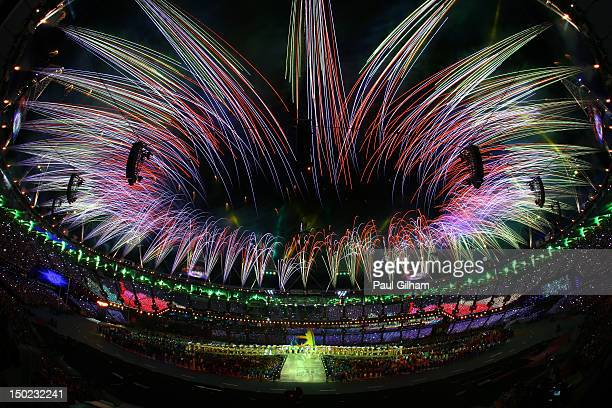 Fireworks expload during the Closing Ceremony on Day 16 of the London 2012 Olympic Games at Olympic Stadium on August 12 2012 in London England