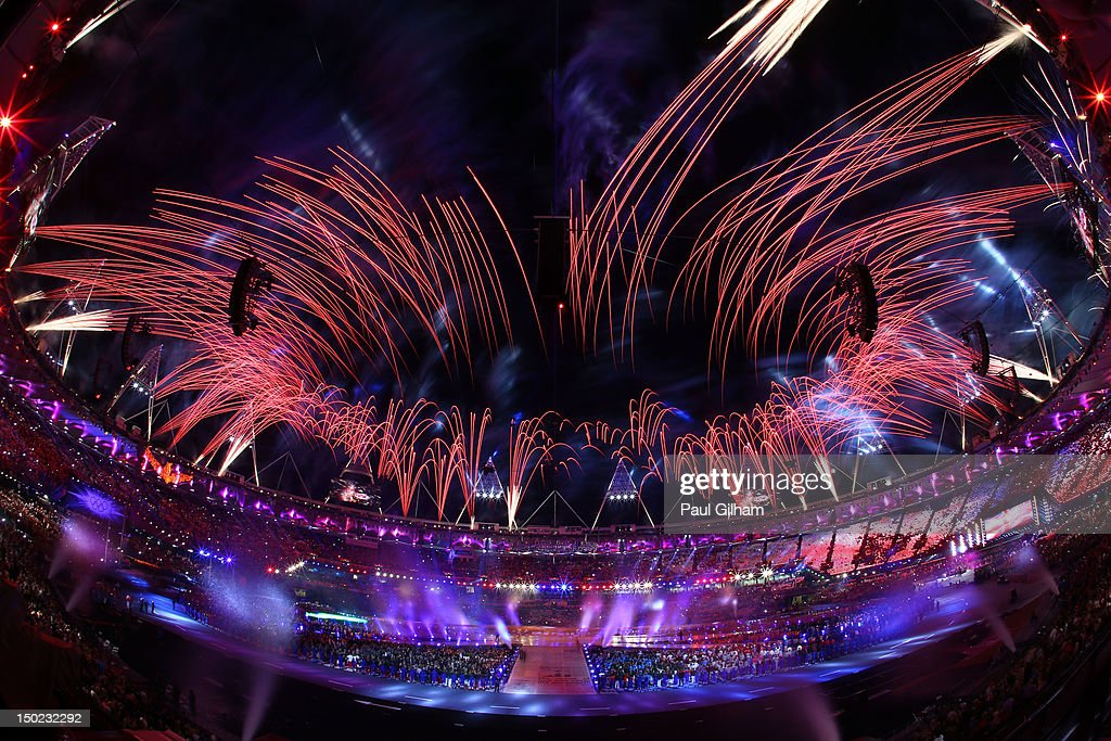 Fireworks expload during the Closing Ceremony on Day 16 of the London 2012 Olympic Games at Olympic Stadium on August 12, 2012 in London, England.