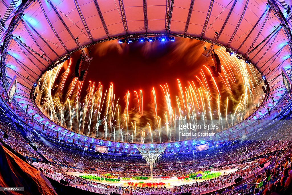 Fireworks explode above the Maracana Stadium at the end of the closing ceremony of the Rio 2016 Olympic games on August 21, 2016 in Rio de Janeiro, Brazil.