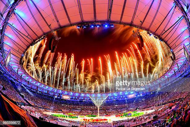 Fireworks explode above the Maracana Stadium at the end of the closing ceremony of the Rio 2016 Olympic games on August 21, 2016 in Rio de Janeiro,...