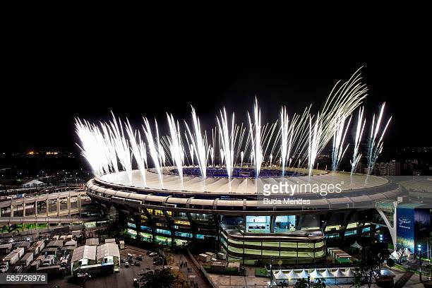 Fireworks explode above the Maracana stadium during the rehearsal of the opening ceremony of the Olympic Games on August 03 2016 in Rio de Janeiro...