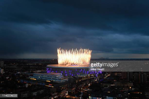 Fireworks explode above the new Tottenham Hotspur Stadium ahead of the Premier League match between Tottenham Hotspur and Crystal Palace at Tottenham...