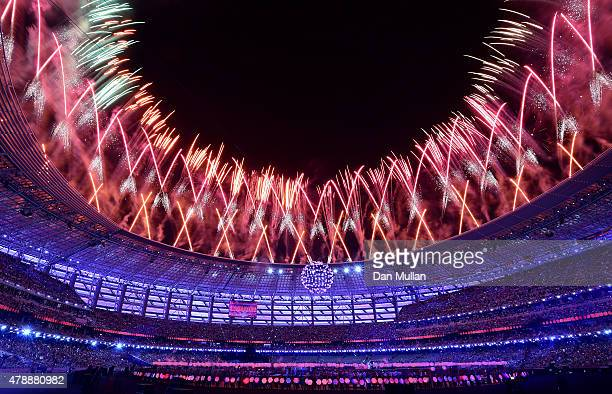 Fireworks explode above the stadium during the Closing Ceremony for the Baku 2015 European Games at National Stadium on June 28 2015 in Baku...