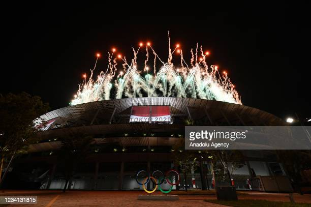 Fireworks explode above the stadium during the opening ceremony of the Tokyo 2020 Olympic Games at the Olympic Stadium in Tokyo, Japan on July 23,...