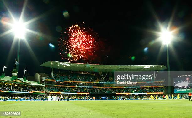 Fireworks explode after the 2015 Cricket World Cup Semi Final match between Australia and India at Sydney Cricket Ground on March 26, 2015 in Sydney,...