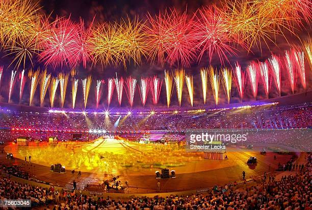 Fireworks explode after the cauldron is lit during the Opening Ceremony for the XV Pan American Games at the Maracana Stadium on July 13 2007 in Rio...