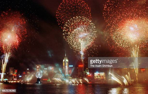 Fireworks explode after the handover on July 1 1997 in Hong Kong