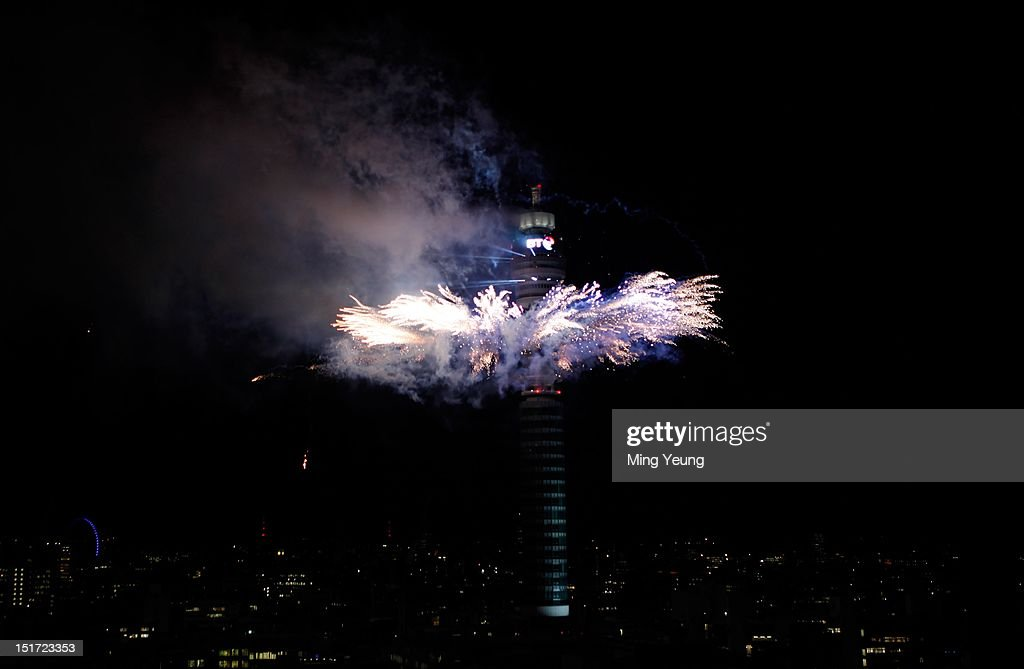 Fireworks explode around the top of the BT Tower in celebration of a successful London 2012 Olympic and Paralympic Games on September 10, 2012 in London, England.