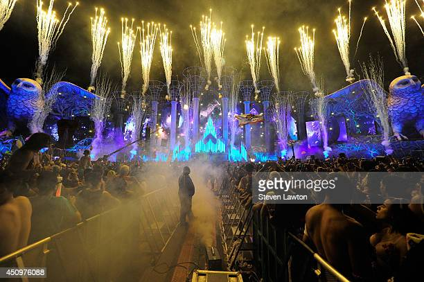 Fireworks explode as DJ/producer Laidback Luke performs at the Kinetic Field stage at the 18th annual Electric Daisy Carnival at Las Vegas Motor...