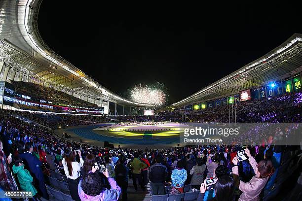 Fireworks explode as part of the Closing Ceremony during day fifteen of the 2014 Asian Games at Incheon Asiad Main Stadium on October 4 2014 in...