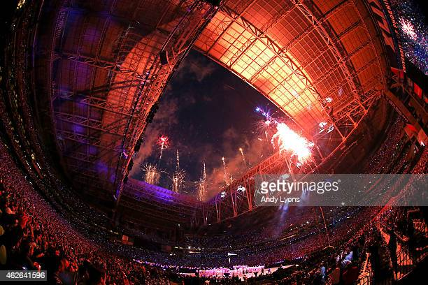 Fireworks explode as singer Katy Perry performs during the Pepsi Super Bowl XLIX Halftime Show at University of Phoenix Stadium on February 1 2015 in...