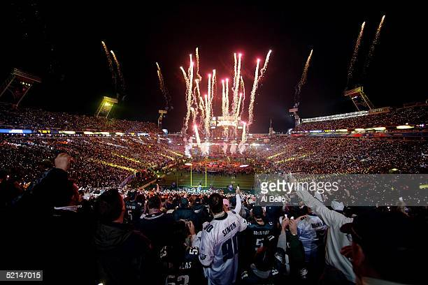 Fireworks explode as singer Paul McCartney performs during the Super Bowl XXXIX halftime show at Alltel Stadium on February 6, 2005 in Jacksonville,...