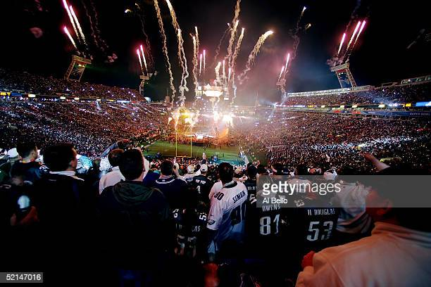 Fireworks explode as singer Paul McCartney performs during the Super Bowl XXXIX halftime show at Alltel Stadium on February 6 2005 in Jacksonville...