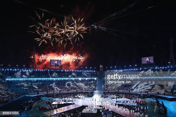 Fireworks explode as the Paralympic cauldron was extinguished during the closing ceremony of the PyeongChang 2018 Paralympic Games at the PyeongChang...