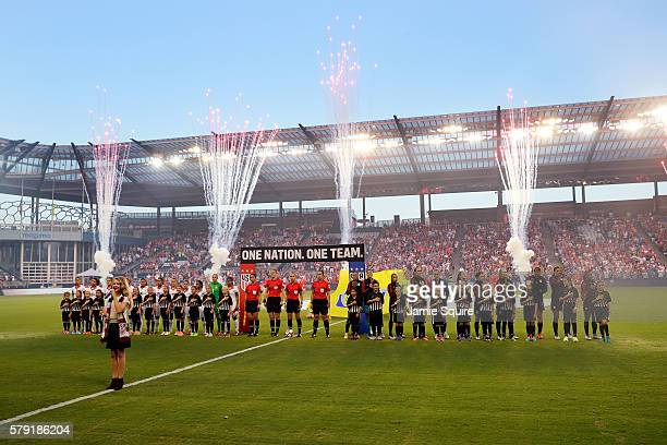 Fireworks explode as the United States and Costa Rica Women's National Teams line up during the National Anthem ahead of their friendly match at...