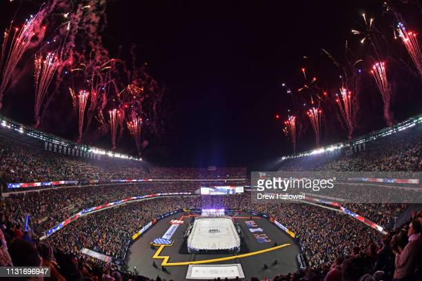 Fireworks explode at Lincoln Financial Field during the 2019 Coors Light NHL Stadium Series between the Philadelphia Flyers and the Pittsburgh...