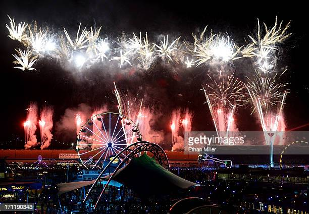 Fireworks explode at the 17th annual Electric Daisy Carnival at Las Vegas Motor Speedway on June 23 2013 in Las Vegas Nevada