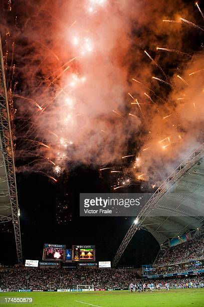 Fireworks explode at the end of the Barclays Asia Trophy Final match between Manchester City and Sunderland at Hong Kong Stadium on July 27 2013 in...