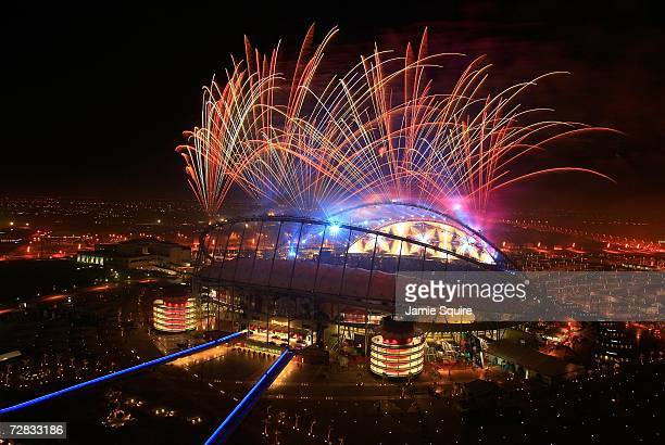 Fireworks explode at the end of the Closing Ceremony of the 15th Asian Games Doha 2006 at the Khalifa Stadium on December 15, 2006 in Doha, Qatar.