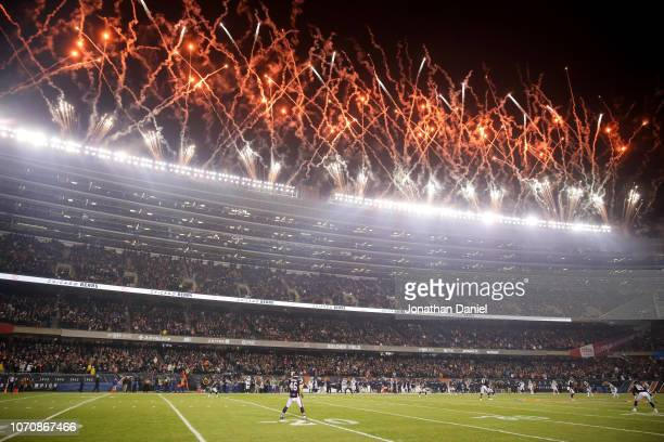 Fireworks explode at the start of the game between the Chicago Bears and the Los Angeles Rams at Soldier Field on December 9 2018 in Chicago Illinois