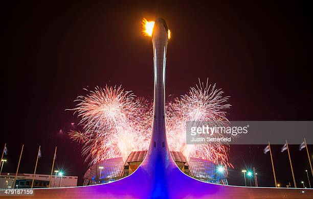 Fireworks explode before the Closing Ceremony of the 2014 Paralympic Winter Games on March 16 2014 in Sochi Russia