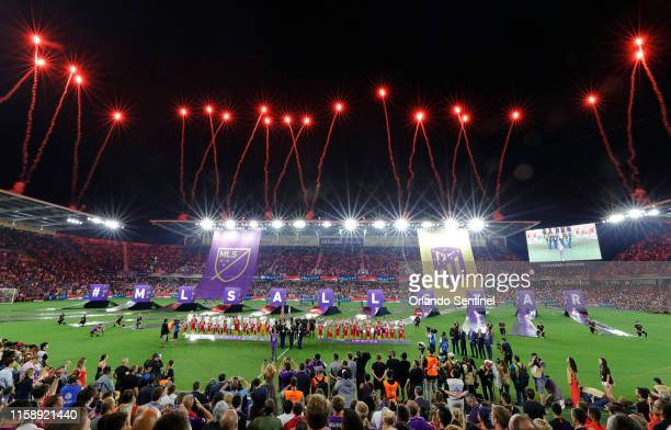 Fireworks explode before the MLS AllStar Game at Exploria Stadium in Orlando Fla on Wednesday July 31 2019