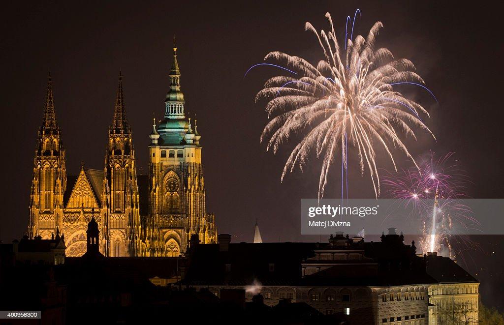 Prague Celebrates The New Year With Fireworks : News Photo