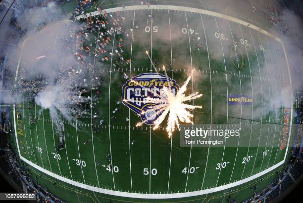 Fireworks explode beneath the scoreboard after the Clemson Tigers defeated the Notre Dame Fighting Irish during the College Football Playoff...