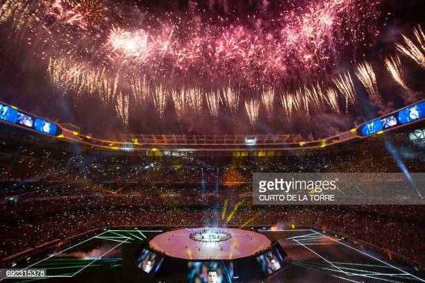 Fireworks explode during a celebration event held at the Santiago Bernabeu stadium after the team won the the UEFA Champions League football match...