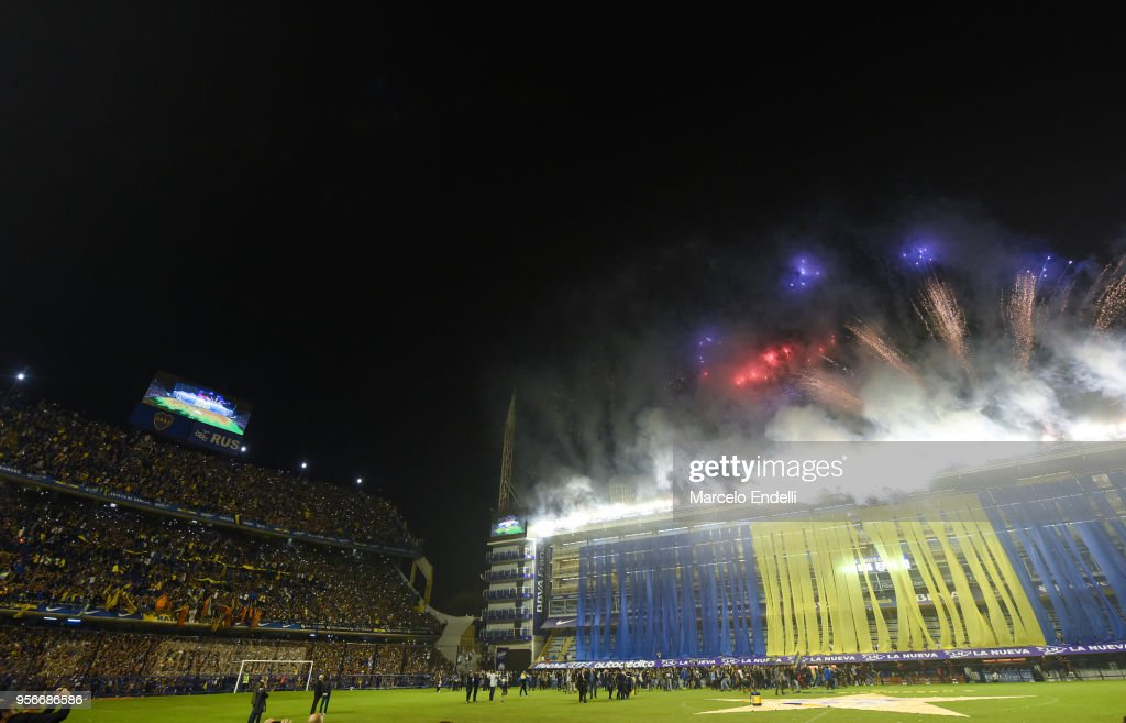 Fireworks explode during the celebration event after winning the Argentina Superliga 2017/18 at Estadio Alberto J. Armando on May 9, 2018 in La Boca, Argentina. Boca Juniors fans could not attend the game against Gimnasia y Esgrima La Plata as no away fans are allowed in Argentina.