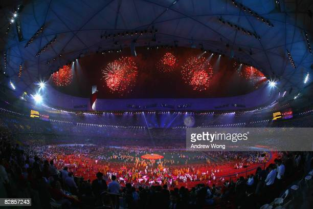 Fireworks explode during the closing ceremony of the 2008 Beijing Paralympic Games at the National Stadium on September 17 2008 in Beijing China
