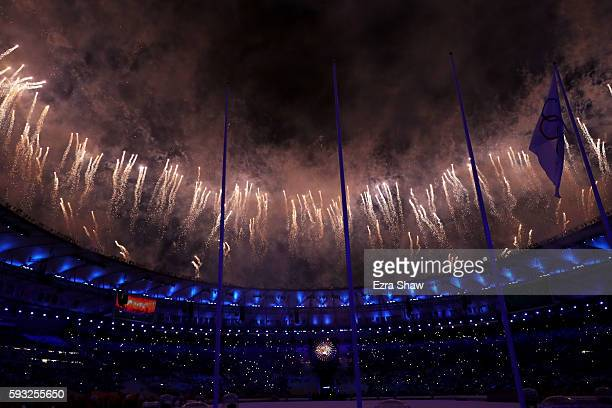 Fireworks explode during the Closing Ceremony on Day 16 of the Rio 2016 Olympic Games at Maracana Stadium on August 21 2016 in Rio de Janeiro Brazil