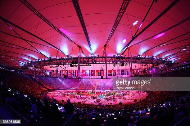 Fireworks explode during the Closing Ceremony on Day 16 of the Rio 2016 Olympic Games at Maracana Stadium on August 21, 2016 in Rio de Janeiro,...