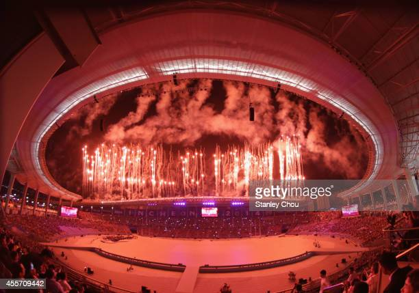 Fireworks explode during the Opening Ceremony ahead of the 2014 Asian Games at Incheon Asiad Main Stadium on September 19 2014 in Incheon South Korea