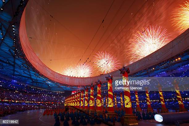Fireworks explode during the Opening Ceremony for the 2008 Beijing Summer Olympics at the National Stadium on August 8 2008 in Beijing China
