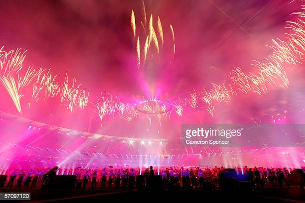 Fireworks explode during the Opening Ceremony for the Melbourne 2006 Commonwealth Games at the Melbourne Cricket Ground March 15, 2006 in Melbourne,...