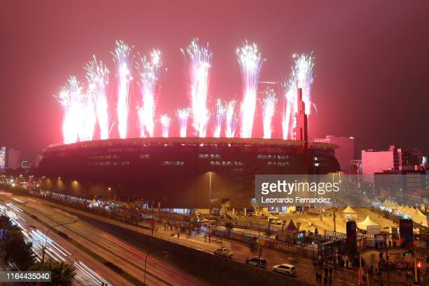 Fireworks explode during the opening ceremony of Lima 2019 Pan American Games at Estadio Nacional on July 26, 2019 in Lima, Peru.