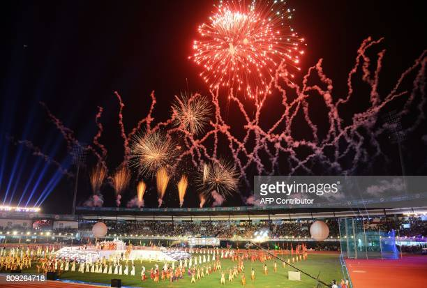 Fireworks explode during the opening ceremony of the 22nd Asian Athletics Championships at Kalinga Stadium in Bhubaneswar on July 5 2017 / AFP PHOTO...
