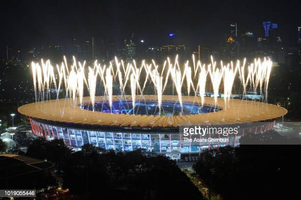 Fireworks explode during the opening ceremony of the Asian Games 2018 at Gelora Bung Karno Stadium on August 18 2018 in Jakarta Indonesia