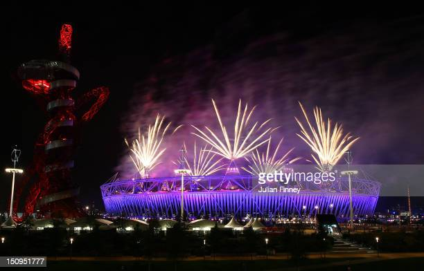 Fireworks explode during the Opening Ceremony of the London 2012 Paralympics at the Olympic Stadium on August 29 2012 in London England