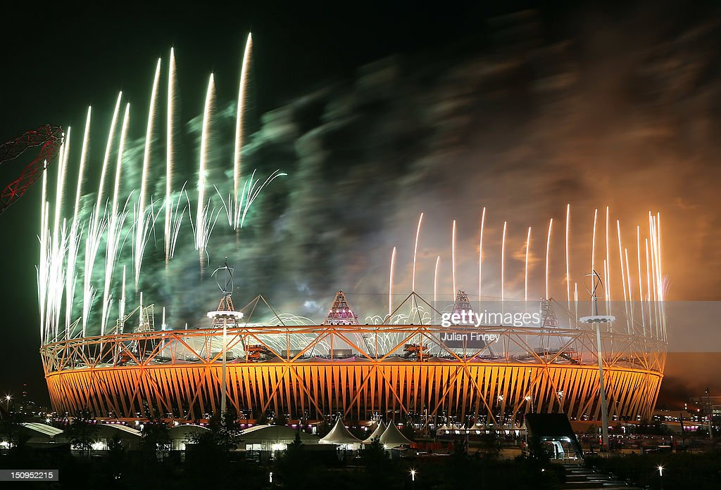 Fireworks explode during the Opening Ceremony of the London 2012 Paralympics at the Olympic Stadium on August 29, 2012 in London, England.