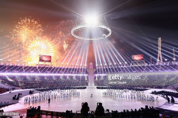 Fireworks explode during the Opening Ceremony of the PyeongChang 2018 Winter Olympic Games at PyeongChang Olympic Stadium on February 9 2018 in...