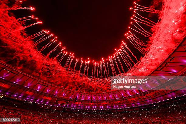 Fireworks explode during the Opening Ceremony of the Rio 2016 Paralympic Games at Maracana Stadium on September 7, 2016 in Rio de Janeiro, Brazil.