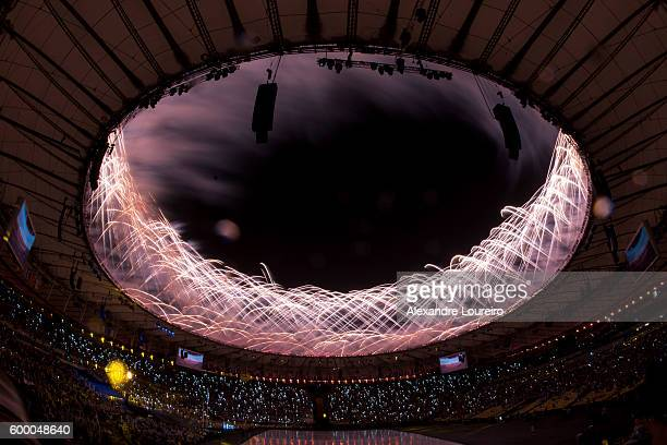 Fireworks explode during the Opening Ceremony of the Rio 2016 Paralympic Games at Maracana Stadium on September 7 2016 in Rio de Janeiro Brazil