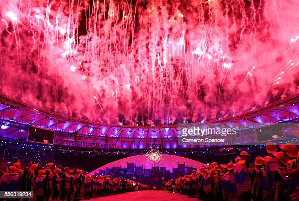 Fireworks explode during the Opening Ceremony of the Rio 2016 Olympic Games at Maracana Stadium on August 5 2016 in Rio de Janeiro Brazil